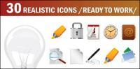 Lâmpadas, mark caneta, bloqueio, chifre, bússola, microfone, vector temporizador