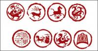 용, 호랑이, 조류, 연의 사슴, 말