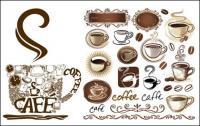 Cafeteira, canecas de café, café, café decorado vector