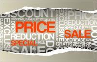 Papier Riss Verkauf, Preis-Vektor