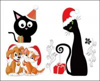 犬と猫のクリスマス ベクトル
