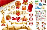 Presentes, velas, sinos, material de vetor de arco decorativas