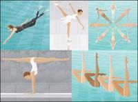 スキューバ ダイビング、スケート、水泳、体操、平均台を同期