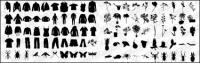 Футболка, брюки, цветы, растения, насекомые векторного материала