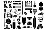 Vários esboçar elementos de vetor matéria - equipamento desportivo, tipo de equipamento (51 elementos)