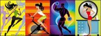 Material de vectores en illustrator Fitness serie