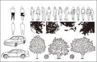 車、樹木、ベクトル