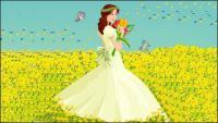 花嫁、蝶のベクター素材