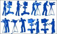 Equipo de cine, iluminación, fotógrafos, vector de escalera herringbone
