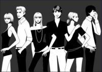 Черно-белые фотографии мужчин и женщин вектора