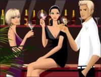 Bar kasual mengumpulkan laki-laki dan perempuan minuman alkohol