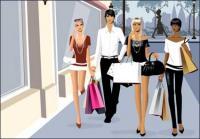 Vecteur matérielles hommes et les femmes fashion shopping
