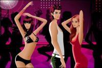 男性と女性のファッションのダンス材料ベクトルを関連