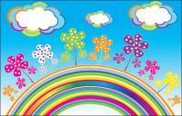 เรนโบว์เมฆเวกเตอร์ดอกไม้