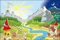 太陽、月、火山、城、セーリング