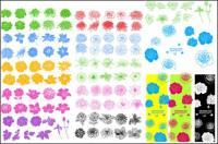 インクのパターン、花、ベクトル