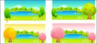 ต้นไม้และทะเลสาบสีเวกเตอร์
