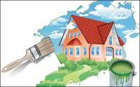 Pintar una casa nuevos vectores de materiales