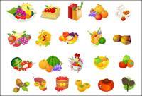 Panier de fruits, de noisettes, vecteur de kaki