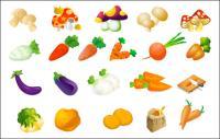 Verduras vector - col, papas, arroz, berenjena y setas rábano