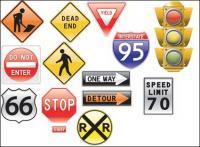 교통 표지판 테마 벡터 소재