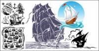 Vetor de tema de navio à vela