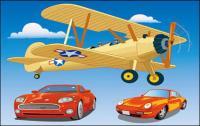 Автомобиль управляемый вектор Material��Propeller самолетов и спортивный автомобиль