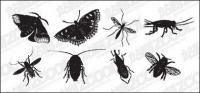 Hitam dan putih vektor serangga bahan