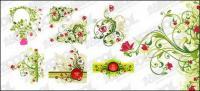 รวมลวดลายดอกไม้สีแดง และสีเขียวของวัสดุเวกเตอร์