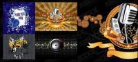 Material de vectores ilustraciones tema musical