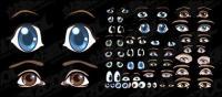 Accueille un matériau cartoon lovely vecteur des yeux