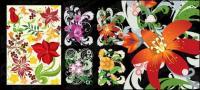 手描きの花パターン ベクトル材料