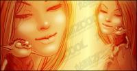 愛女性のベクトル描画コミック スタイルの素材