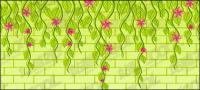 재료의 벽에 벡터 꽃