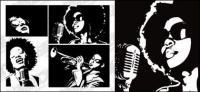 Blanco y negro personajes de vectores de material