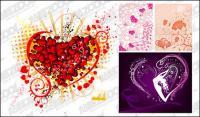 4, la tendencia de los elementos en forma de corazón de material de vectores
