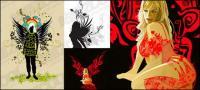 女性のパターン ベクトル材料の翼 3
