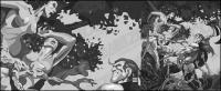 Ilustrações em preto e branco estilo cômico de vetor material