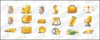 Material de vetor de ícone de ouro tema dinheiro