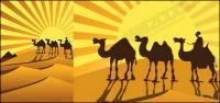金の砂漠にラクダのシルエットのベクター素材
