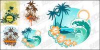 4, material de vectores de tema de árboles de coco