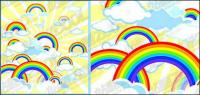 Material de ilustraciones de vectores precioso arco iris