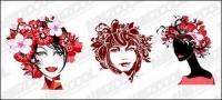 Moda feminina flor cabeça vector material