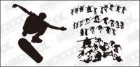 Siluetas de figura skateboarding