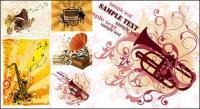 Gramophone, musique de trompette, vecteur de matériau