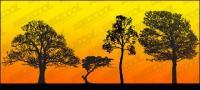 siluet pohon vektor bahan