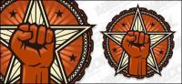 Вектор циркуляр логотип кулак звезда материал