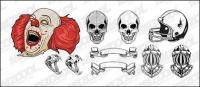 Material de vetor crânios capacete crânio palhaço