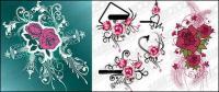 Rosa tema patrón vector de material