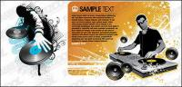DJ, играя диск материала векторные иллюстрации